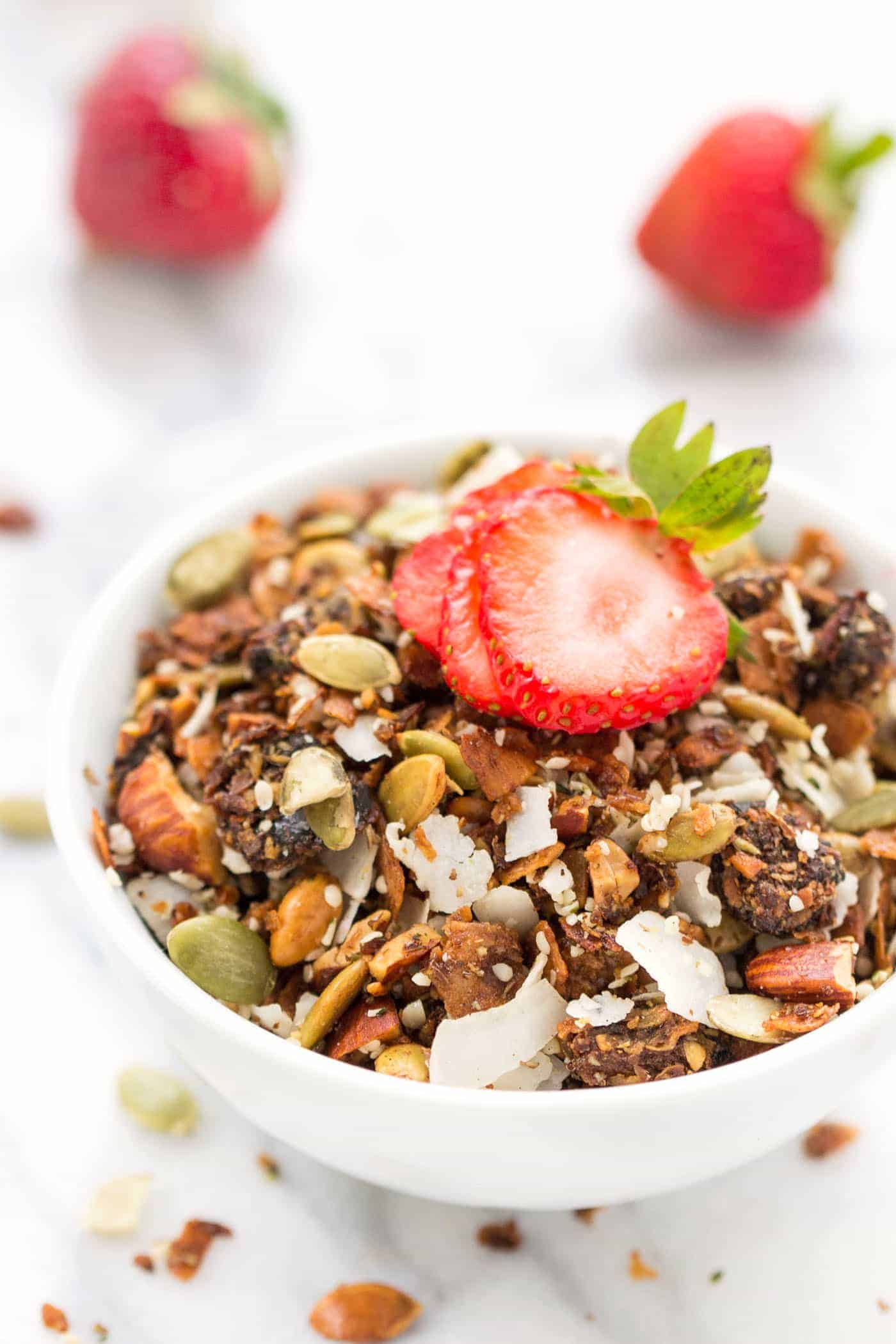 This delicious Coconut Granola is not only vegan, but it's also grain-free AND paleo!