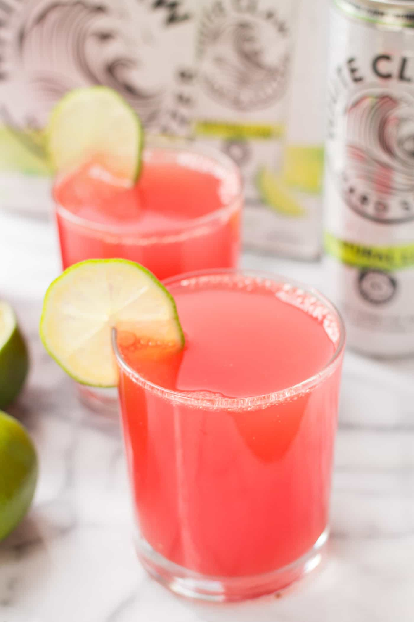 Watermelon Lime Spritzers -- a healthy summer cocktail that's made with only three ingredients!