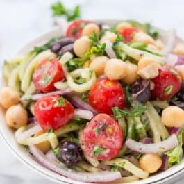 Vegan Cucumber Noodle Greek Salad