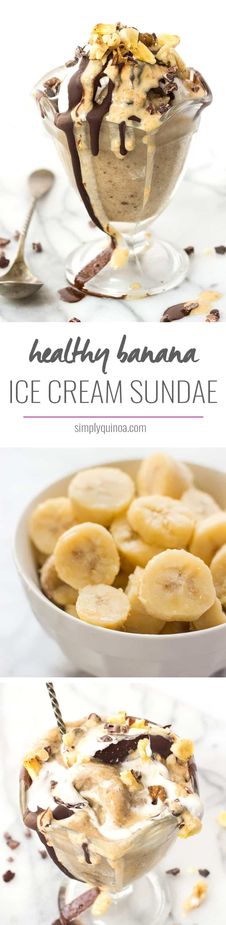 The BEST banana ice cream sundae EVER! all healthy ingredients, totally decadent and vegan too!