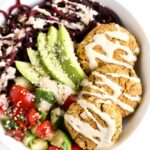 EASY BAKED FALAFEL BOWLS with roasted beet noodles and a creamy tahini dressing [VEGAN]