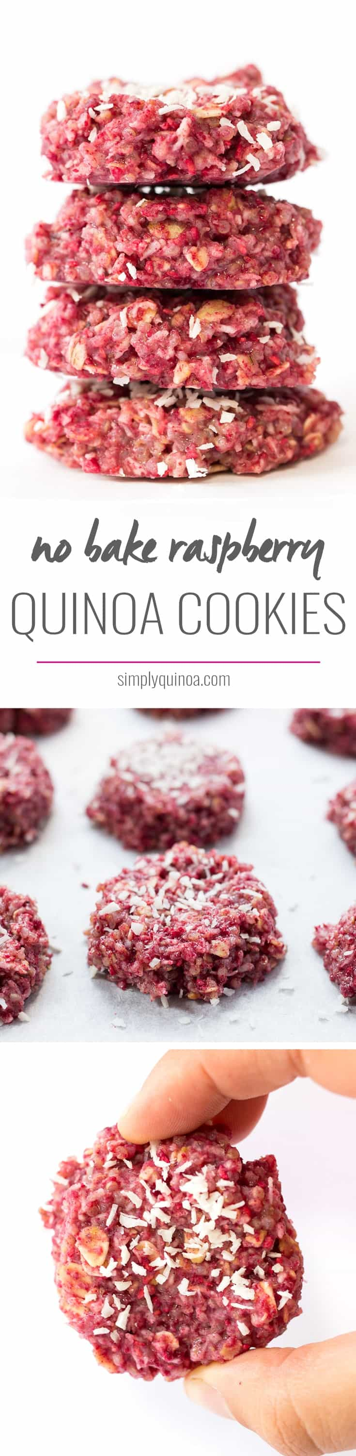 Loving these NO-BAKE raspberry quinoa cookies - they're healthy and delicious | recipe on simplyquinoa.com | vegan + gluten-free