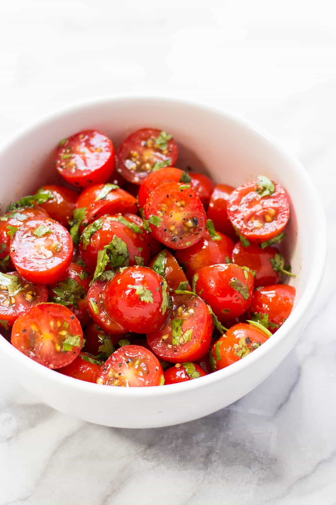 Quick tomato-cilantro salad -- only 5 ingredients and pairs well with everything!
