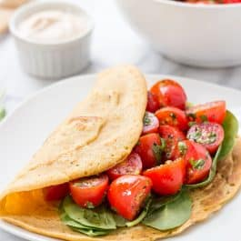 Savory Chickpea Pancakes with Tomatoes + Spinach