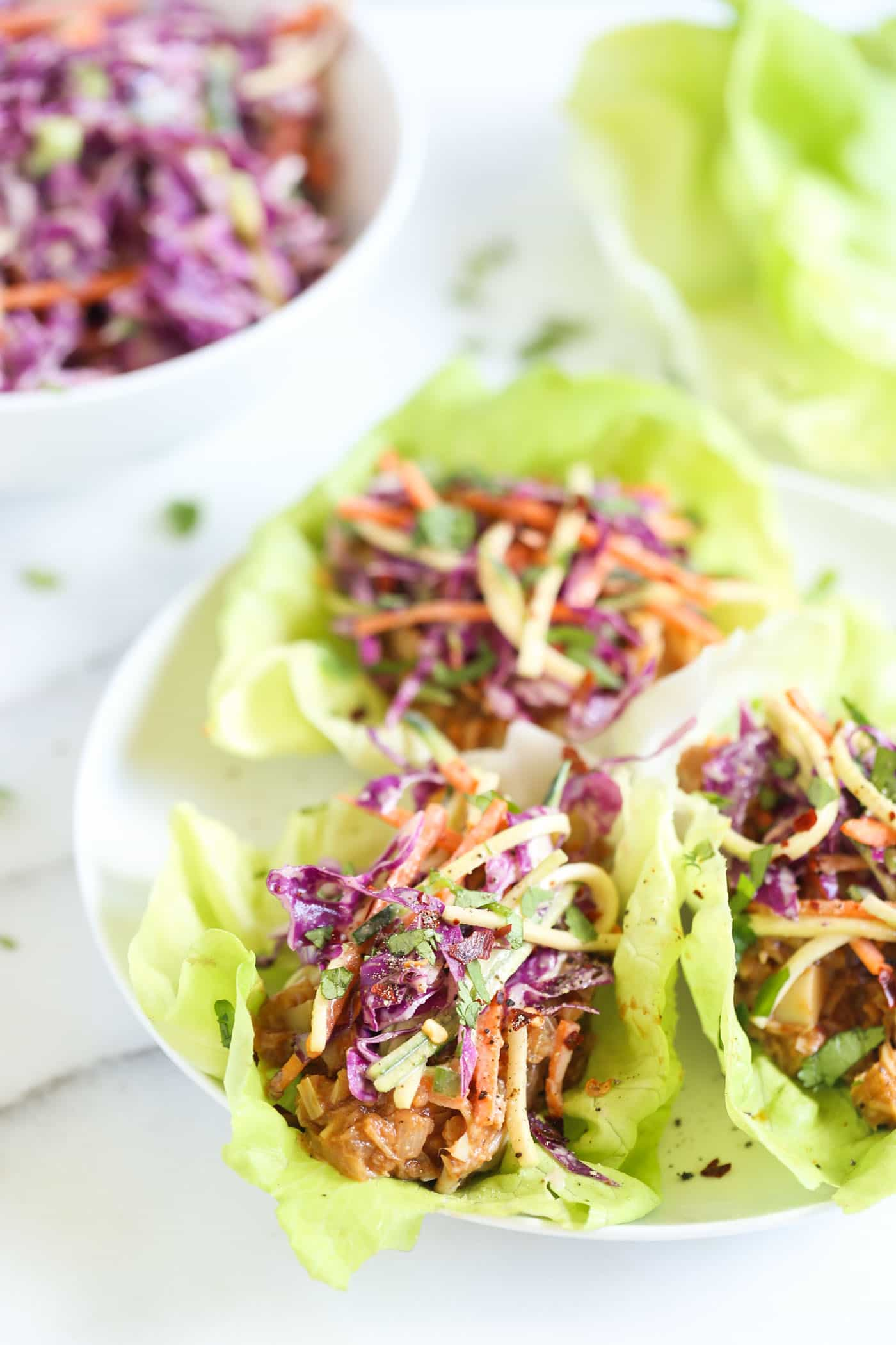 You'd never believe it, but these BBQ pulled pork lettuce wraps are actually VEGAN!