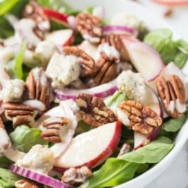 Apple + Pecan Arugula Salad with Herbed Cashew Cheese