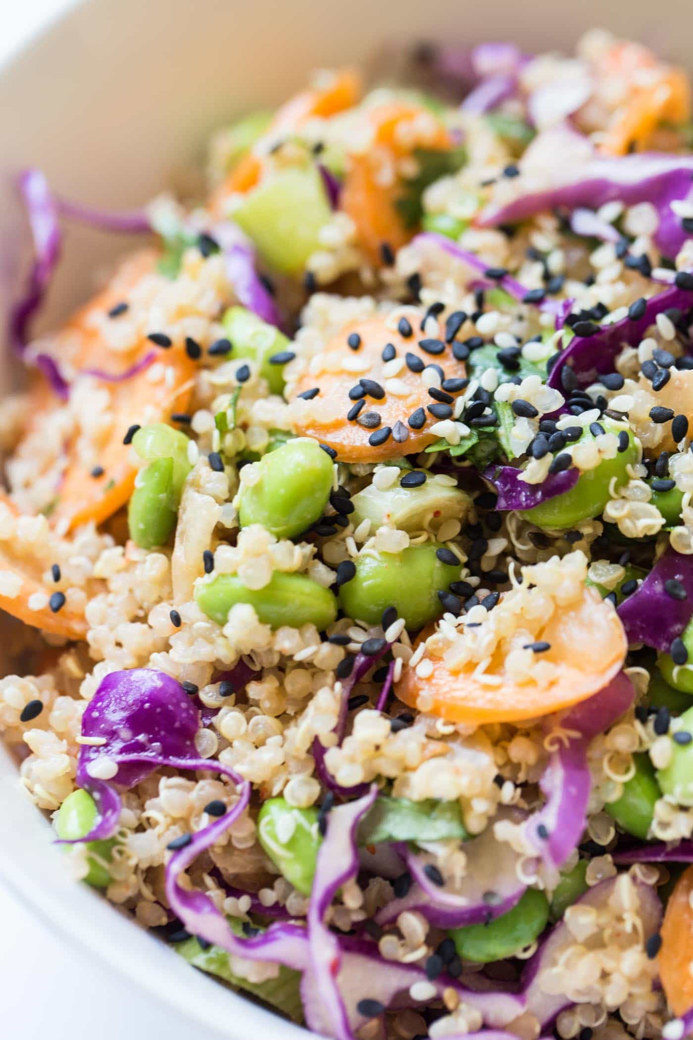 This super SIMPLE Asian Quinoa Power Salad is packed with protein, flavor and takes just 10 minutes to make!