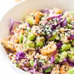 asian quinoa power salad with edamame and a ginger-miso dressing