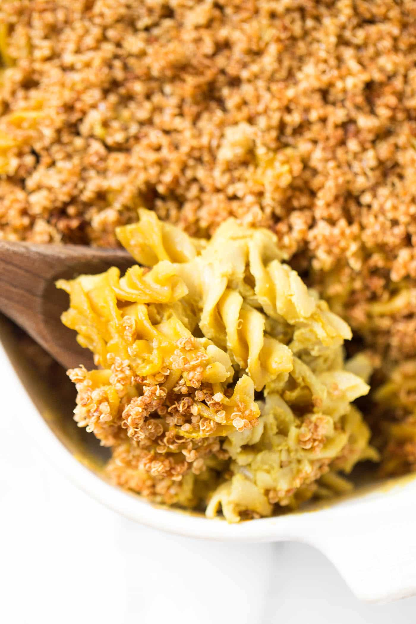 "Baked VEGAN Mac and Cheese with a dreamy ""cheese"" sauce and a crunchy quinoa topping!"