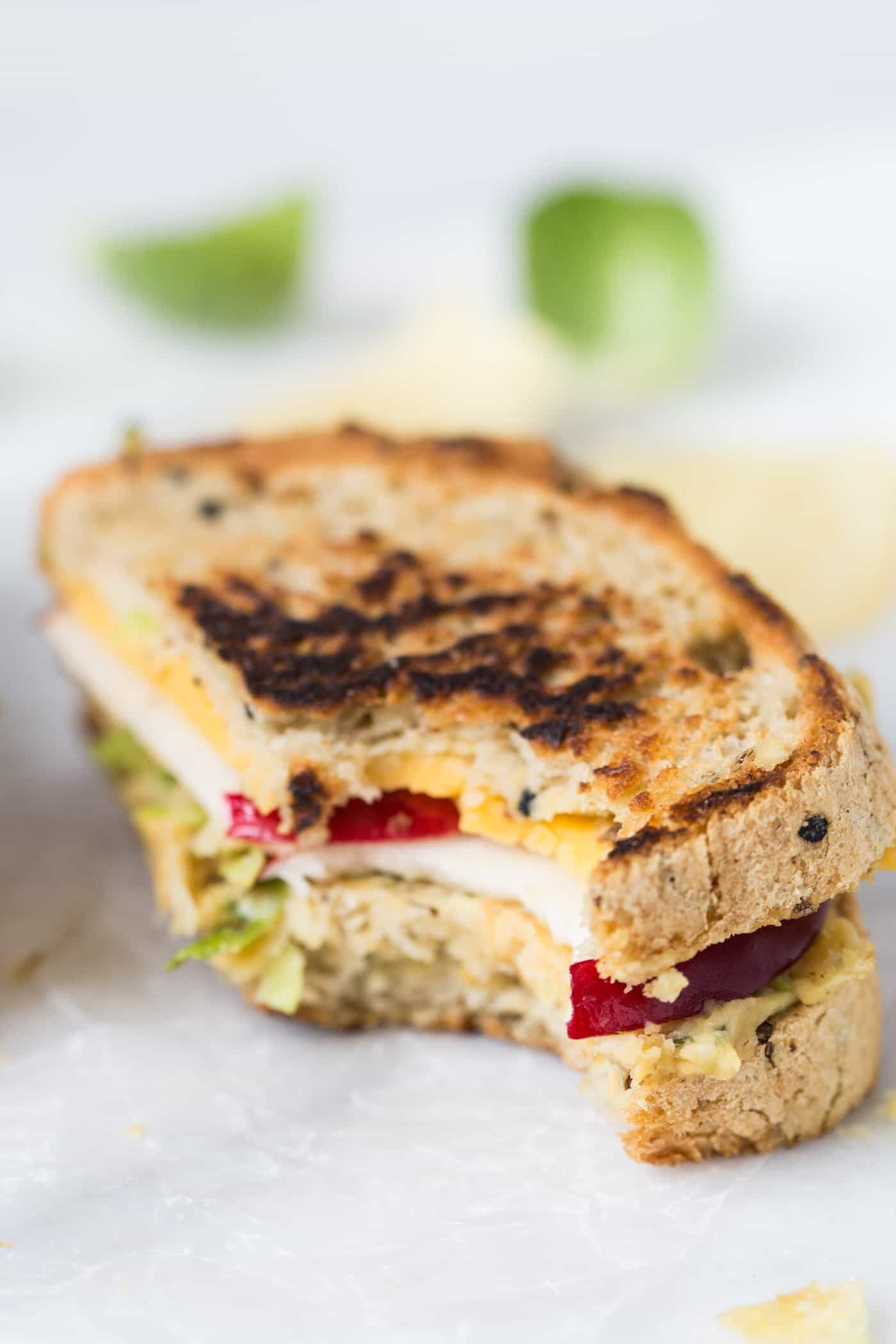Brussels Sprout + Hummus Grilled Cheese Sandwich -- with a smashed chickpea salad in the middle! So simple, so healthy and SO good!