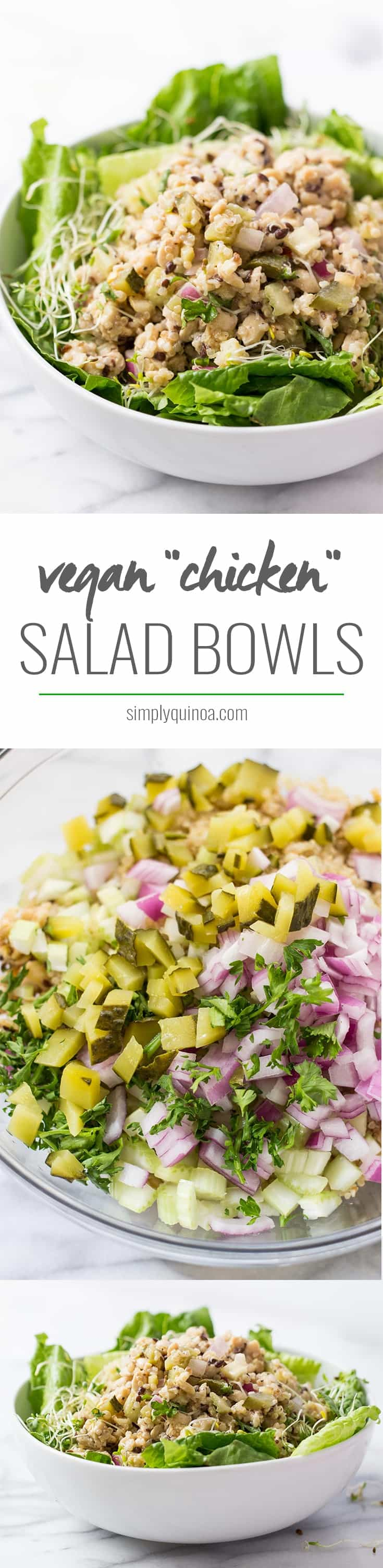 VEGAN 'CHICKEN' SALAD BOWLS! the perfect weeknight dinner or office lunch. Can be made in big batches and enjoyed all week long!