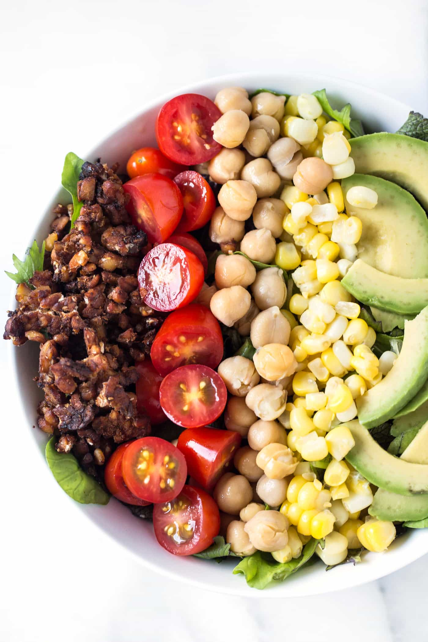 This super SIMPLE vegan cobb salad is packed with protein, but doesn't have any meat OR dairy!