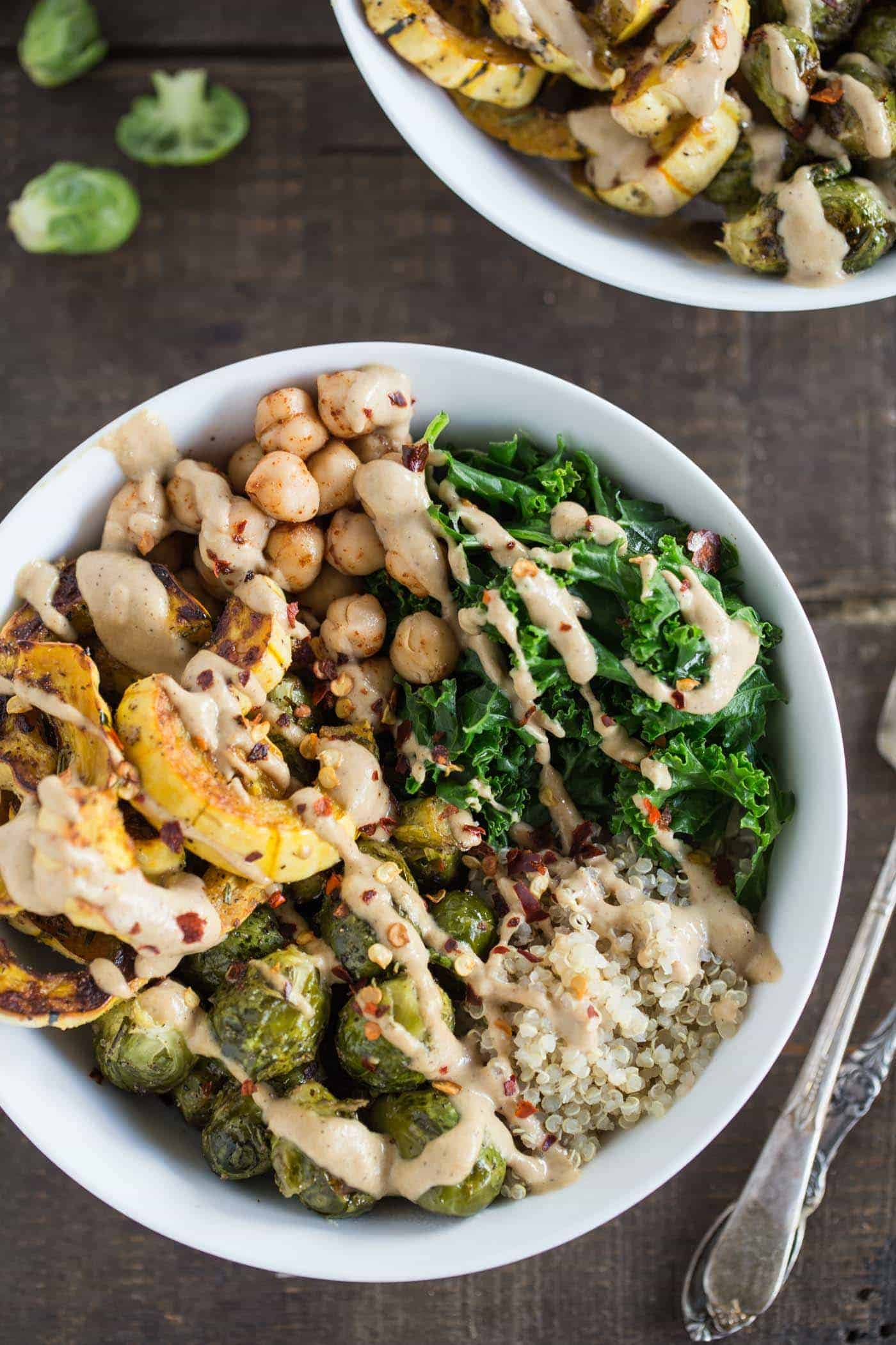 Autumn Harvest Quinoa Bowls -- with roasted squash & brussels sprouts, chickpeas, kale and quinoa!