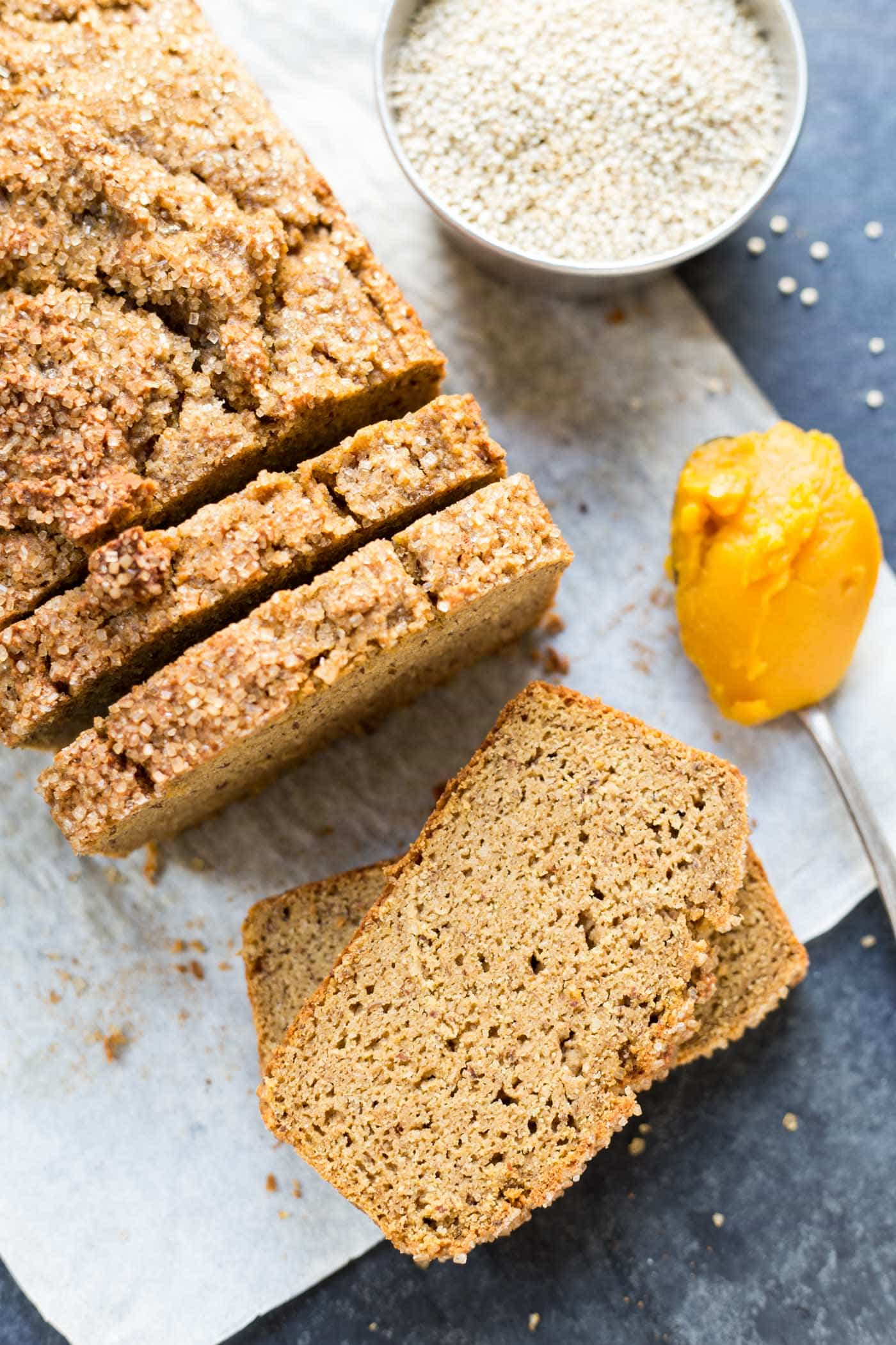 Quinoa + Almond Flour Pumpkin Bread -- a healthy spin on a classic recipe with 6g of protein + 3g of fiber PER SLICE!