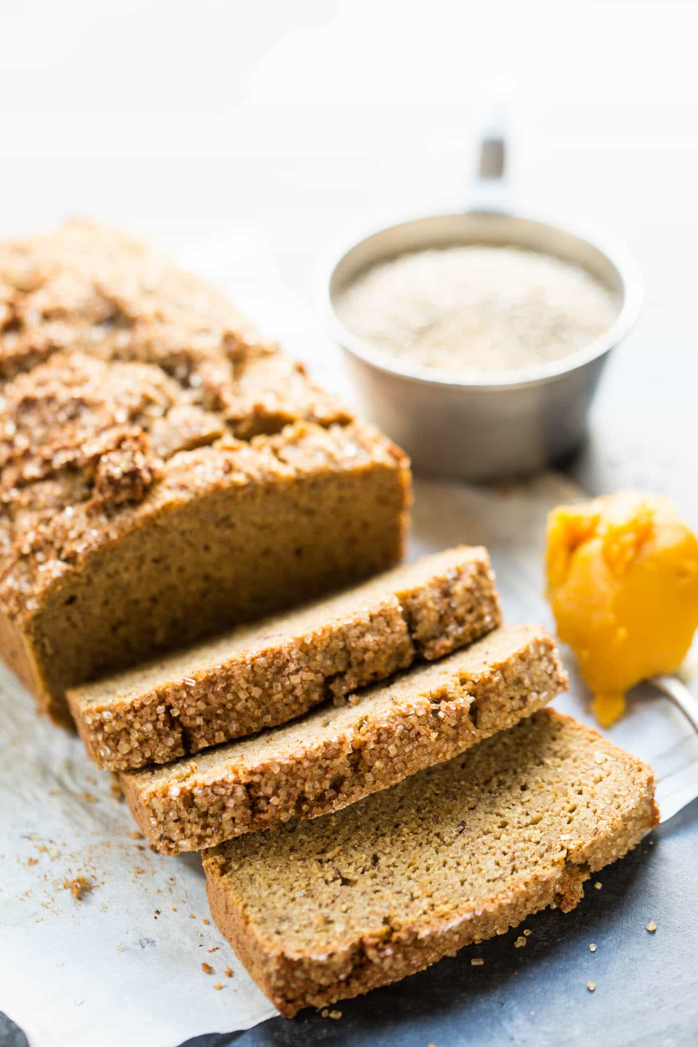 This is THE BEST healthy pumpkin bread made with quinoa flour + almond flour!