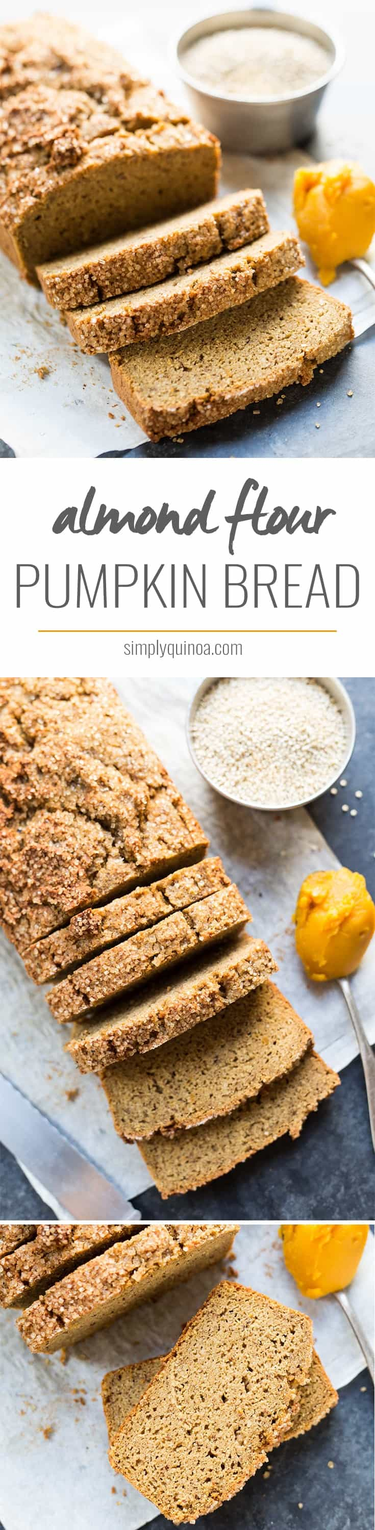 QUINOA & ALMOND FLOUR PUMPKIN BREAD -- high in protein and so delicious! [6g protein, 3g fiber per slice]