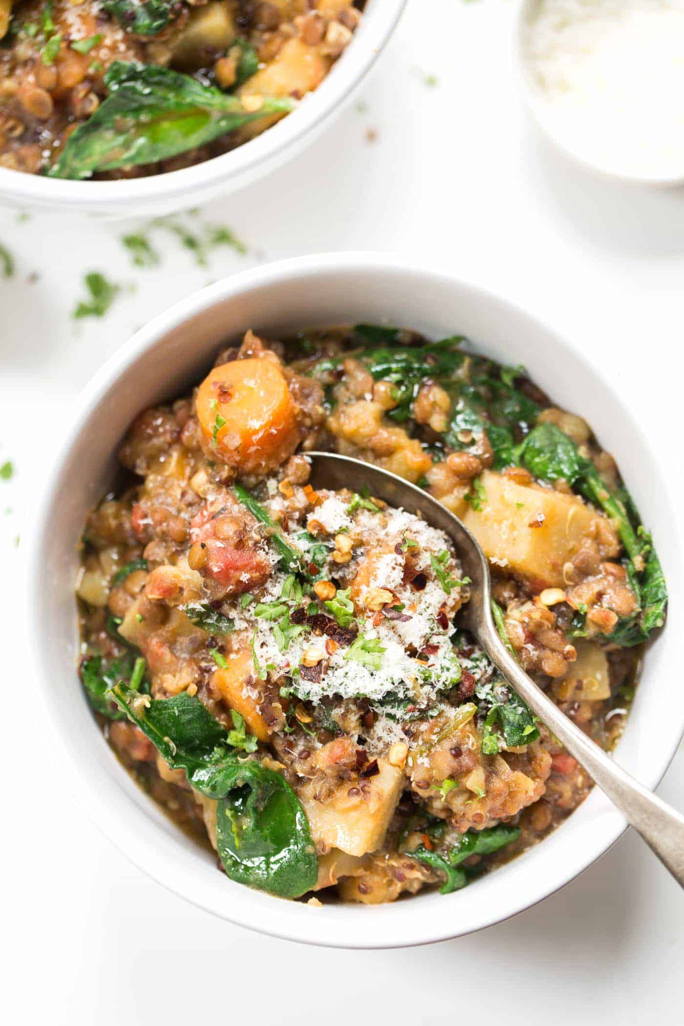 Root Veggie & Lentil Quinoa Stew made in just ONE POT with healthy, wholesome ingredients!