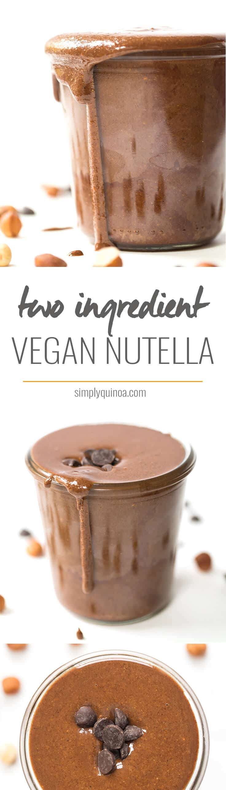 HEALTHY NUTELLA with only two ingredients! It's easy to make, doesn't have any of the junk AND it's vegan!