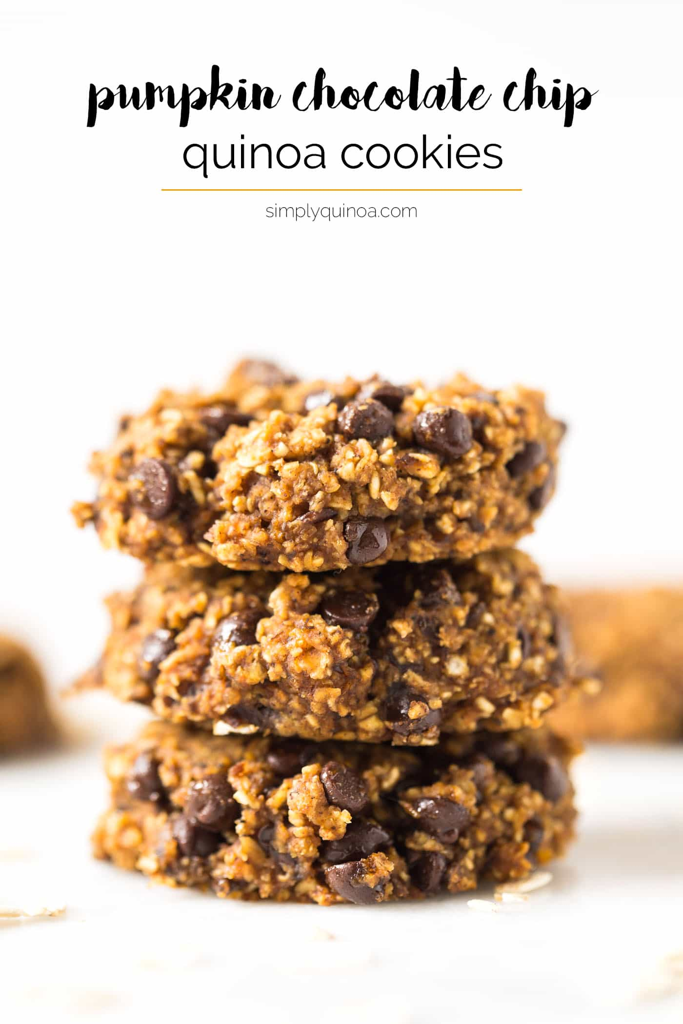 PUMPKIN CHOCOLATE CHIP COOKIES -- made healthy without any oil, butter, gluten, eggs or refined sugar!