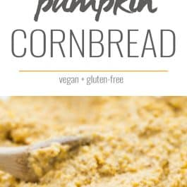 This EASY vegan pumpkin cornbread recipe is made in just one bowl and uses only 10 ingredients!