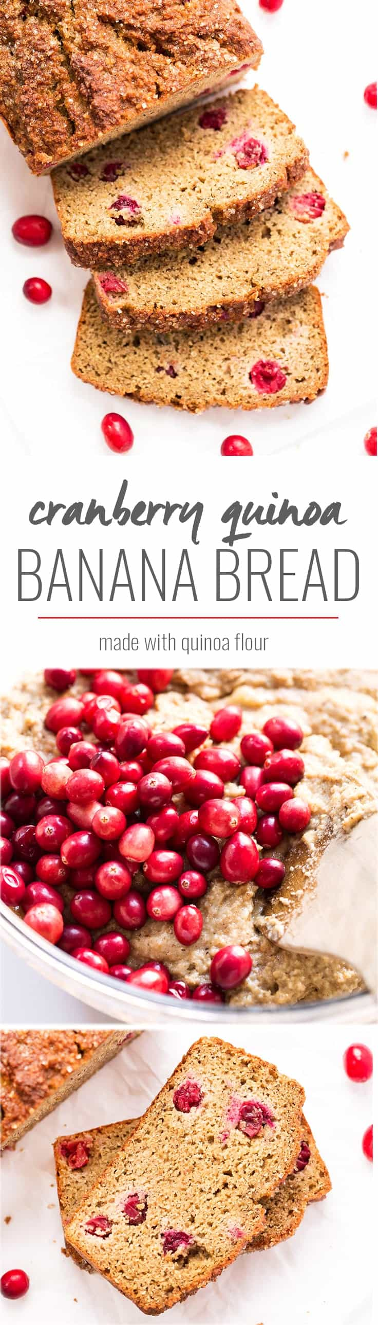 This AMAZING cranberry quinoa banana bread is made with only healthy ingredients and is free from gluten, dairy, refined sugar AND uses only 1 tablespoon of oil!