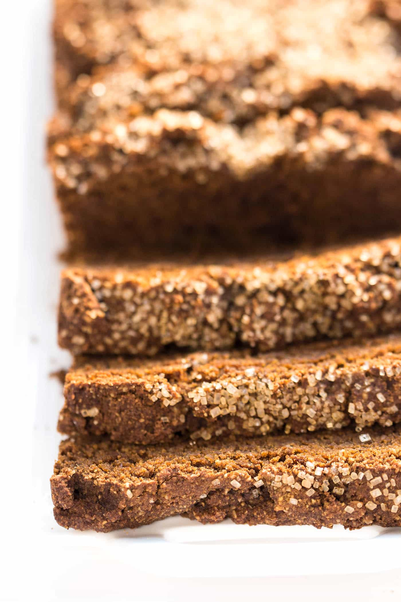 This AMAZING vegan gingerbread loaf is made with almond & quinoa flour and makes for the perfect healthy holiday treat!