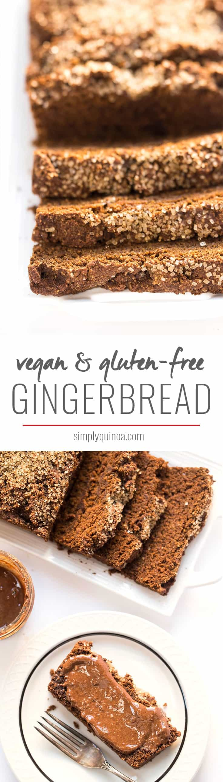 This Vegan Gingerbread Loaf is a nutritious version of this holiday treat, made without any dairy, eggs, gluten or oil. Perfect for breakfast or a snack!