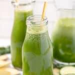 glass of green apple lemon ginger juice