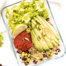 quinoa burrito bowls with black beans and avocado - a perfect vegan meal prep recipe