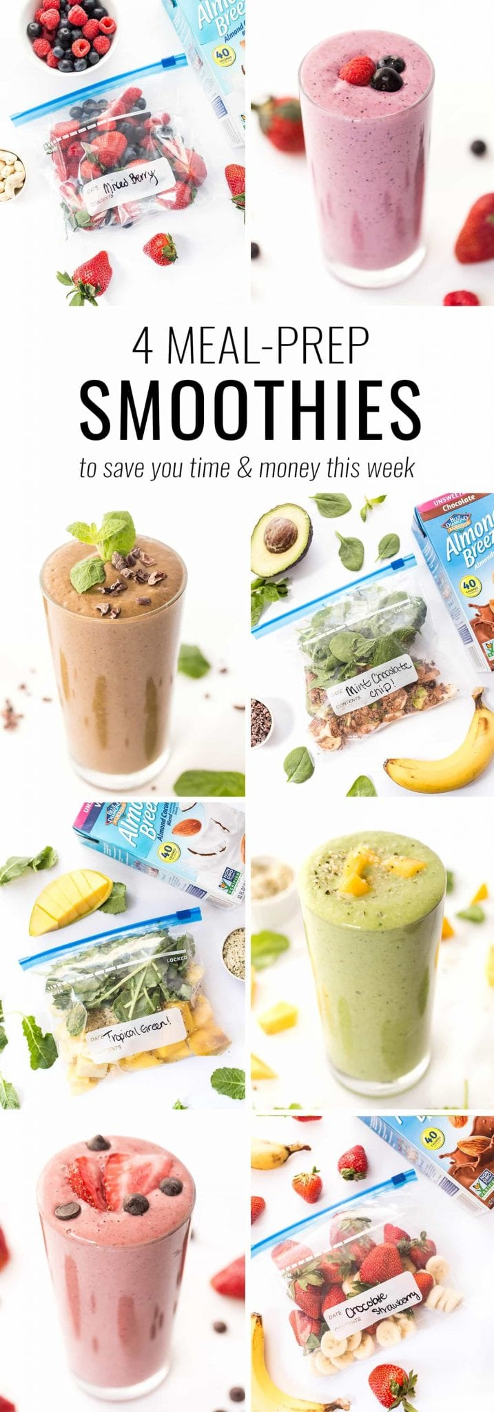 Meal prep like a boss with these 4 EASY meal-prep smoothie recipes! Just toss the ingredients in a bag, freeze and blend when ready to eat!