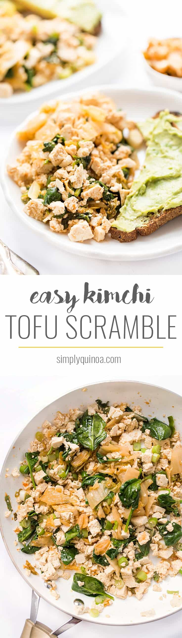 This KIMCHI TOFU SCRAMBLE is a protein-packed, plant-based breakfast that takes just 5 minutes to make and is a wonderful alternative to scrambled eggs!