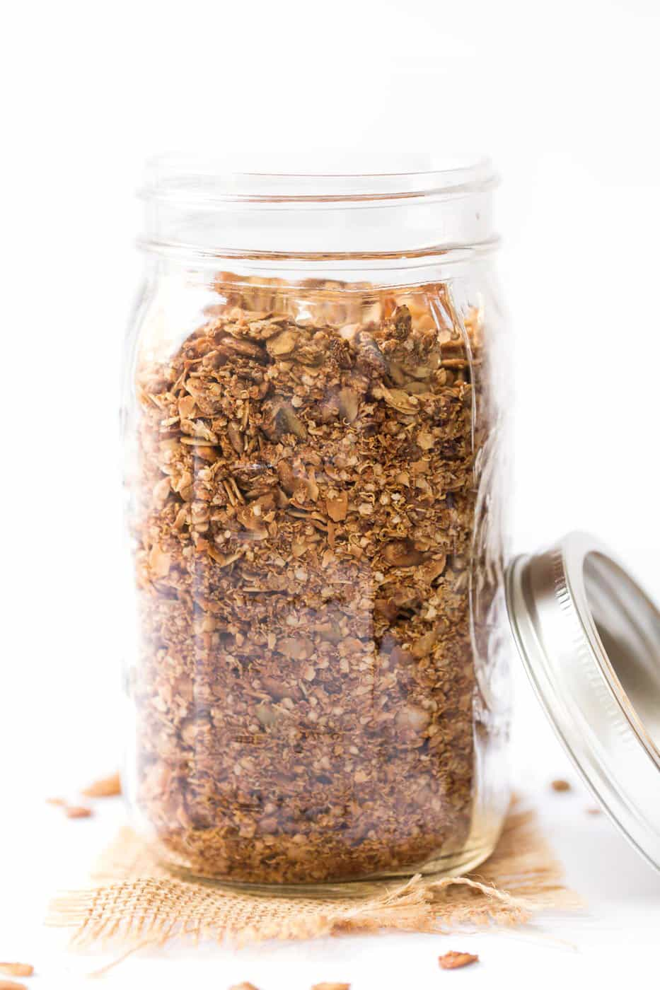 This Maple Quinoa Granola uses a blend of rolled oats and quinoa flakes to make the perfect crunchy, clustery texture!