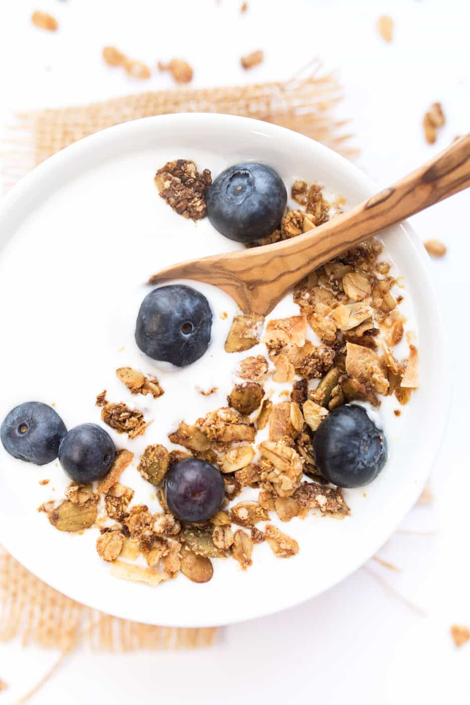 Maca & Maple Quinoa Granola -- sweet mapley clusters, crunchy bites of coconut and tons of good-for-you ingredients!