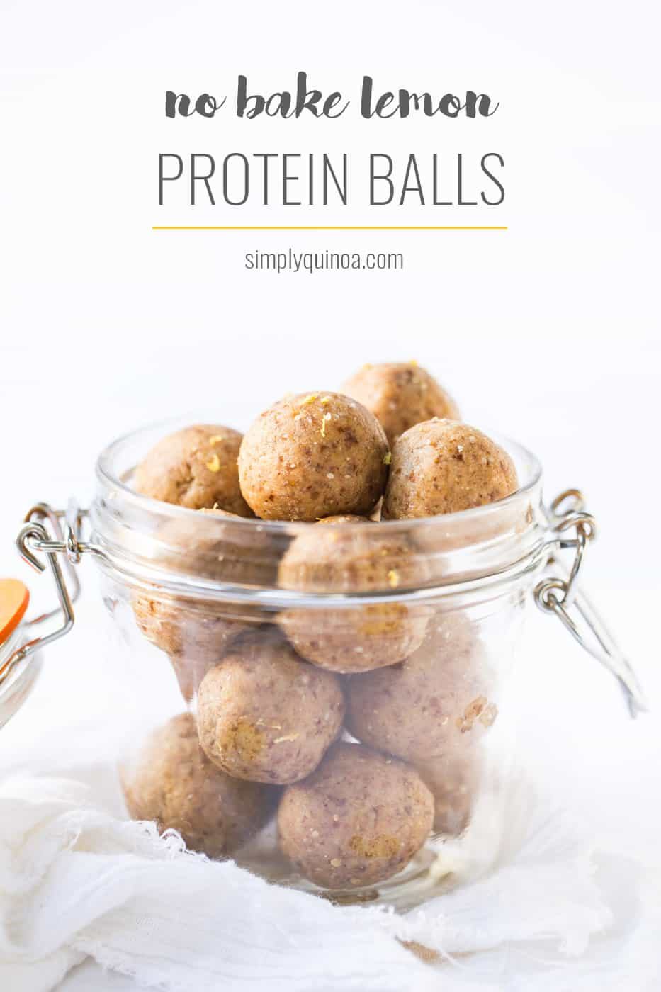 These NO BAKE Lemon Protein Balls are the perfect healthy snack to take on the go. Packed with protein, healthy fats and carbs to fuel you all day long!