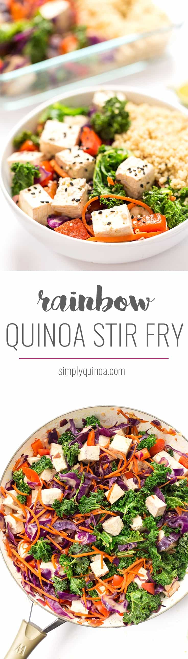 This rainbow vegetable quinoa stir fry is a one-pan meal that is ready in under 20 minutes. Easy to make, simple ingredients and over 17g of plant-based protein per serving!