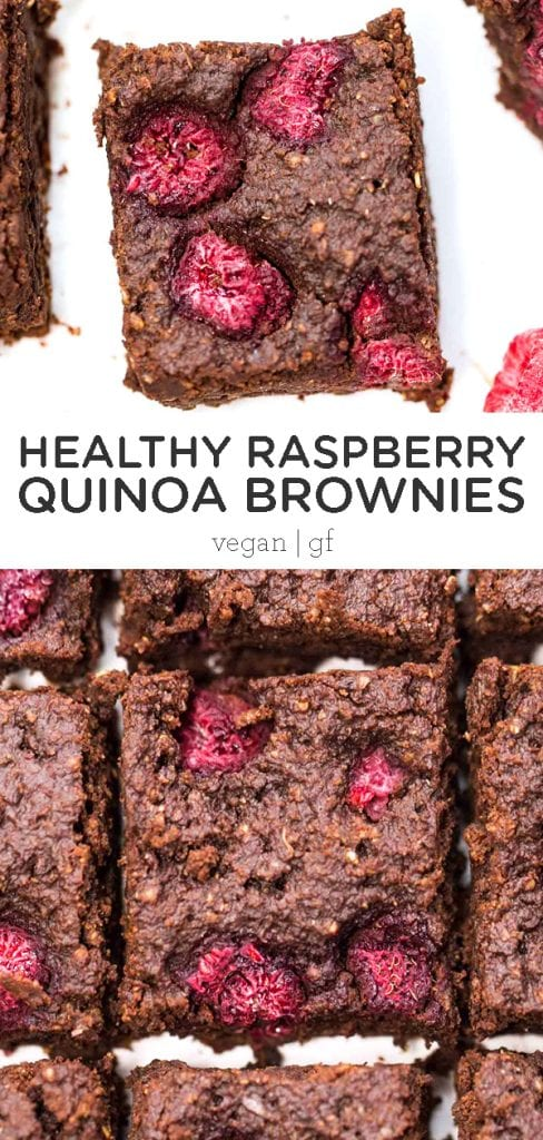 Healthy Raspberry Quinoa Brownies