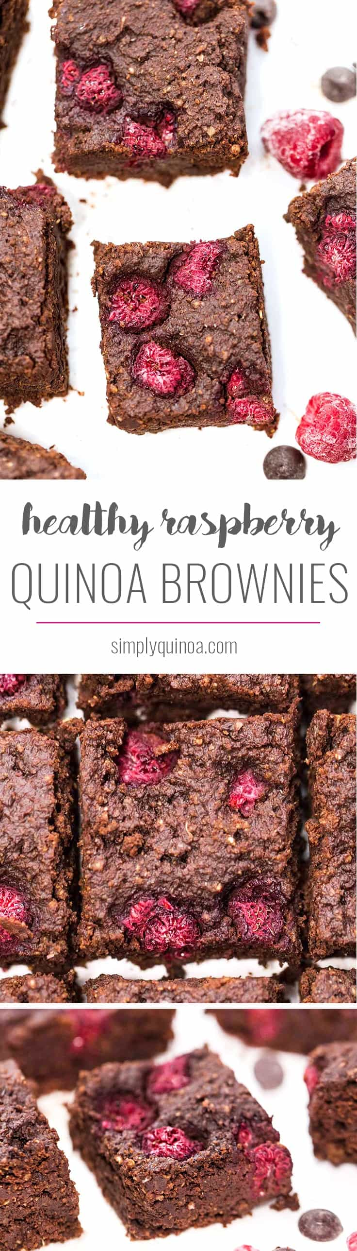 These HEALTHY raspberry quinoa brownies are naturally gluten-free and vegan, but are also packed with protein! Under 200 calories and 4.5g of protein per square!