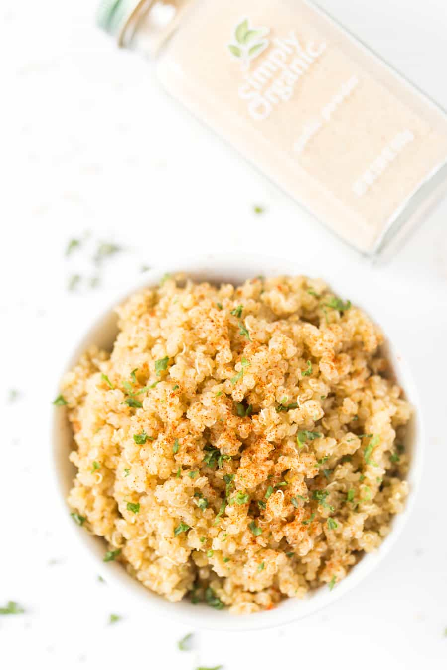 This super FLUFFY Garlic Butter Quinoa uses just 5 ingredients and goes well with everything!!