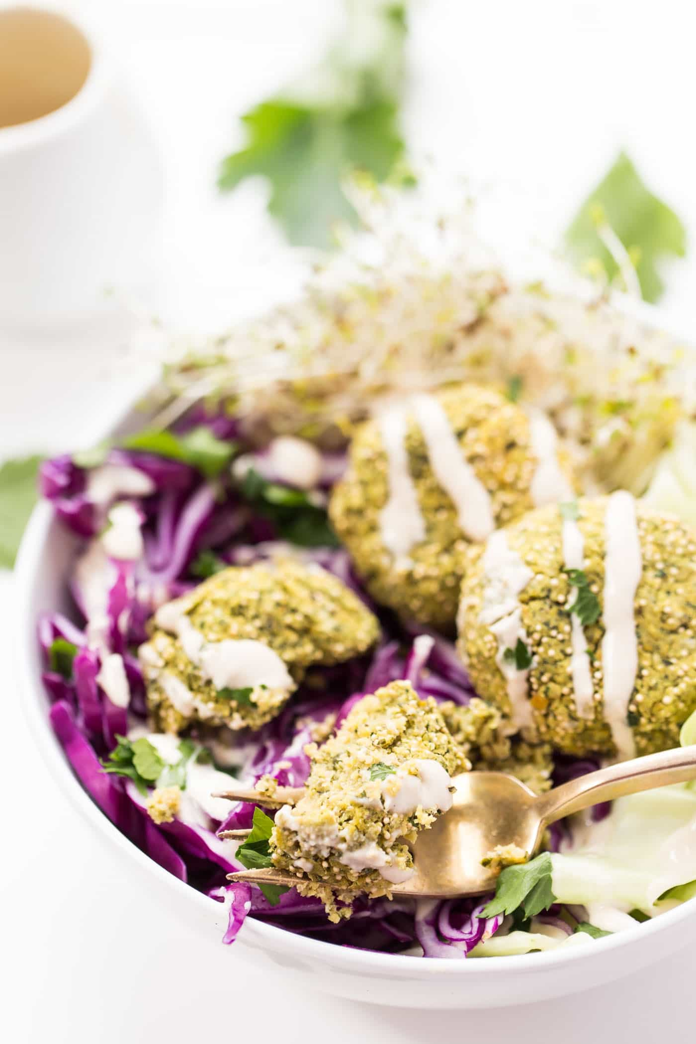 Baked instead of fried, this healthy vegan baked falafel combines protein-rich chickpeas with crunchy amaranth for a nutritious and delicious sandwich filling or topping to your salad!