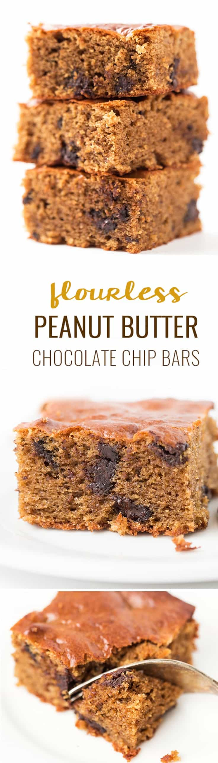 These decadent peanut butter chocolate chip bars make for one healthy dessert! Without any flour, dairy or oils, they have a light, tender & fluffy texture!