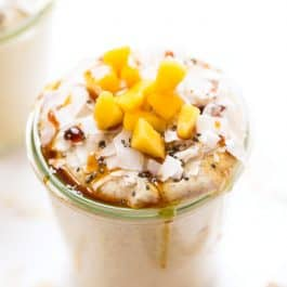 How to make overnight Buckwheat Porridge using raw buckwheat groats, almond milk and mango!