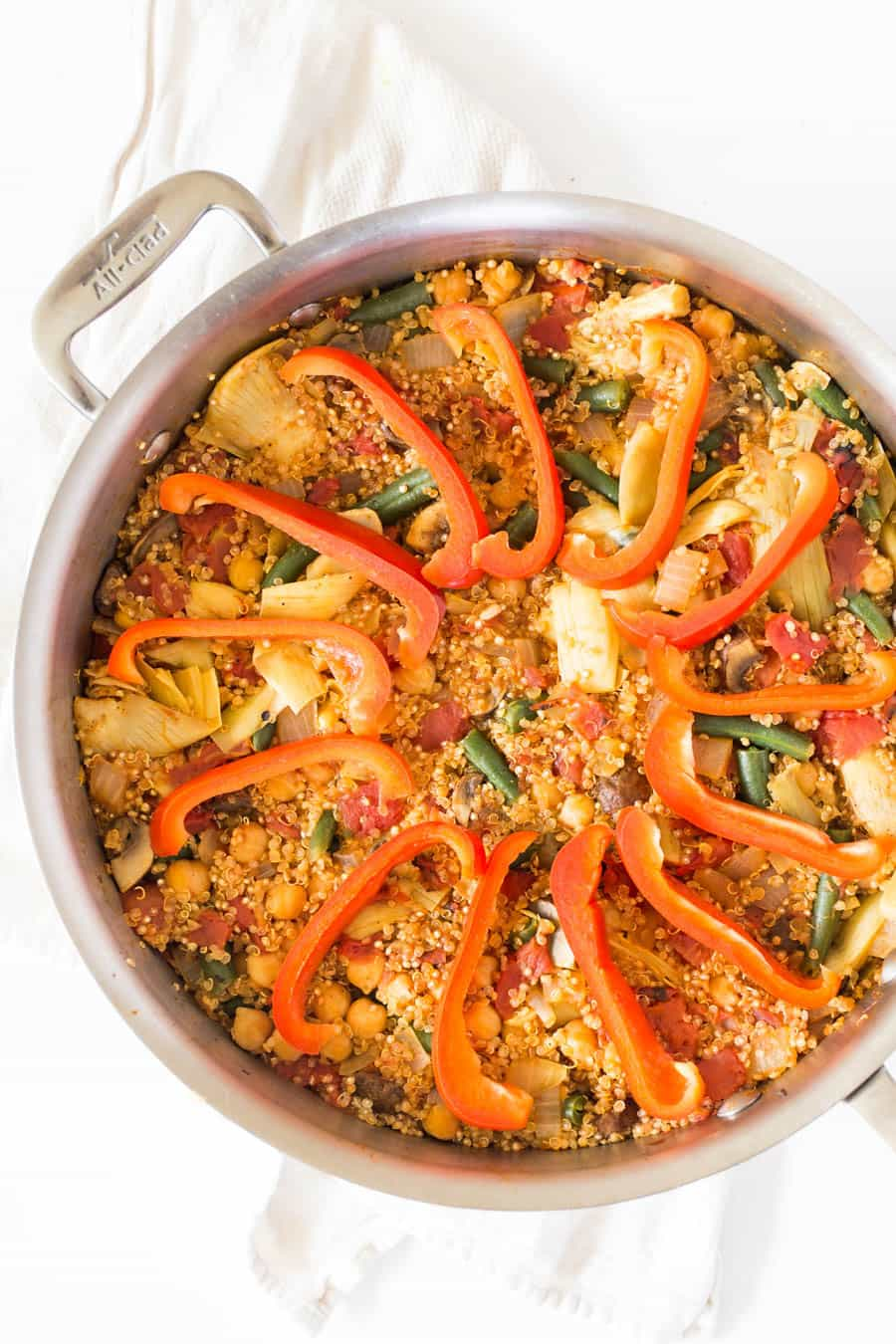 vegetarian paella made with quinoa