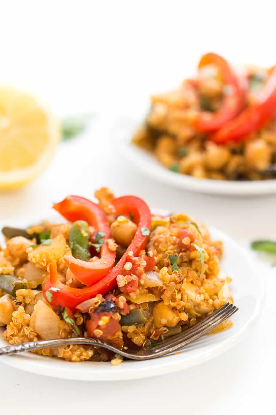 This ONE PAN Vegetable Quinoa Paella is a cinch to make and is ready in under 40 minutes!