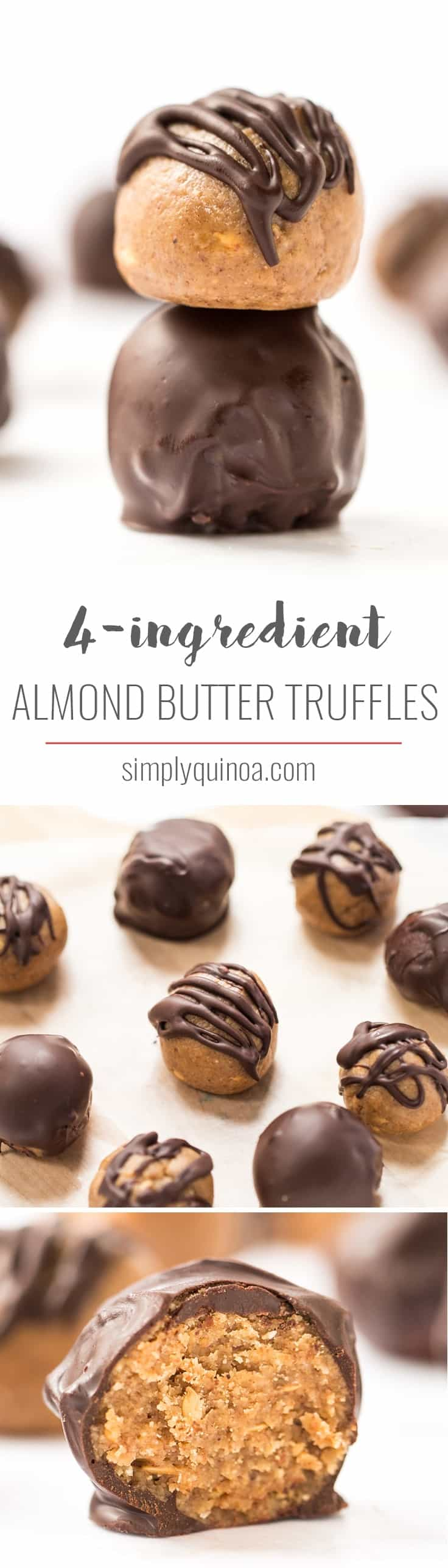 These AMAZING Almond Butter Truffles use just 4 ingredients and are the perfect healthy treat to satisfy your sweet tooth! [gluten-free, vegan & paleo]