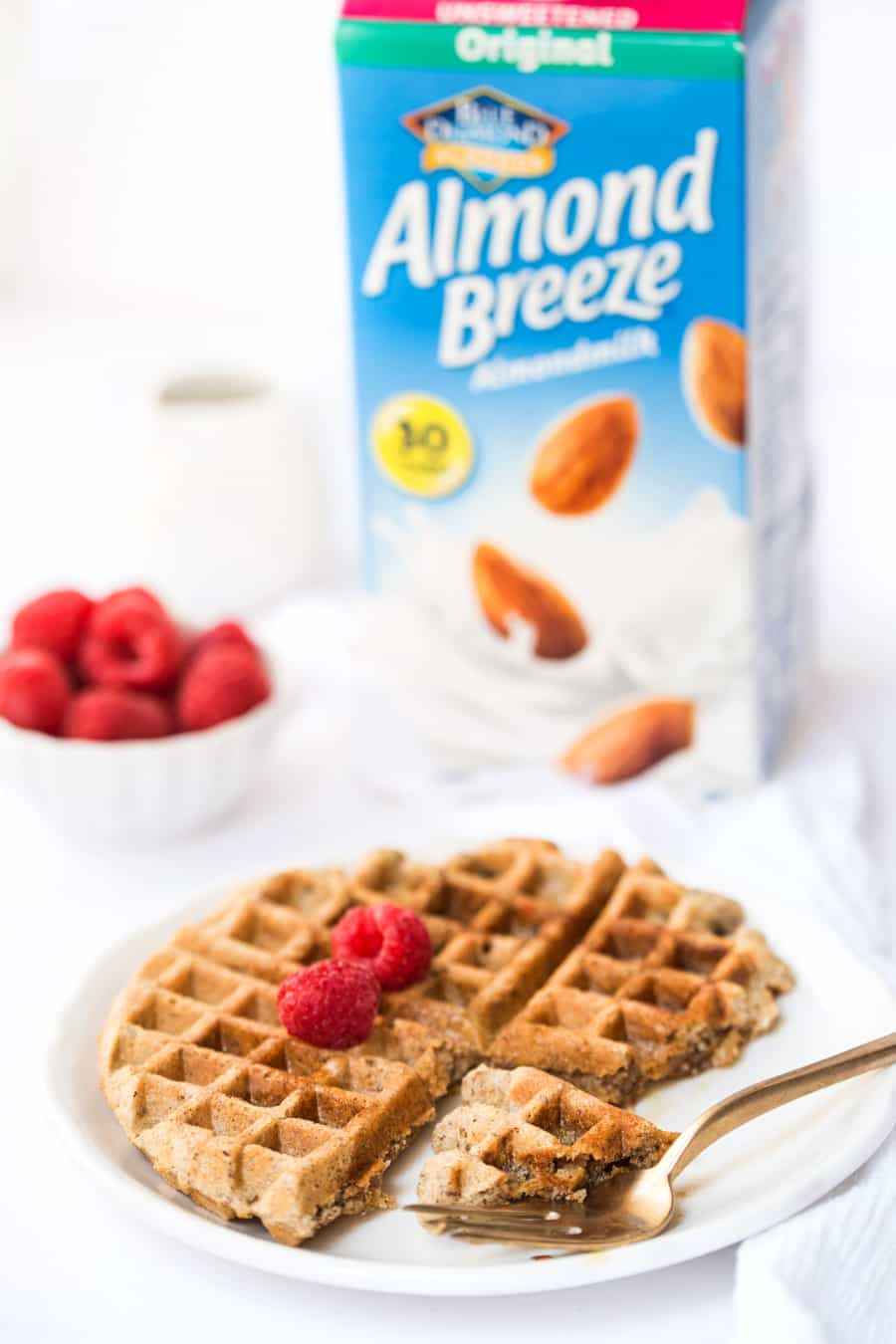 These ALMOND FLOUR WAFFLES are made what breakfast dreams are made of! With a blend of wholesome, high-protein flours and whipped egg whites, they're hearty and fluffy at the same time!