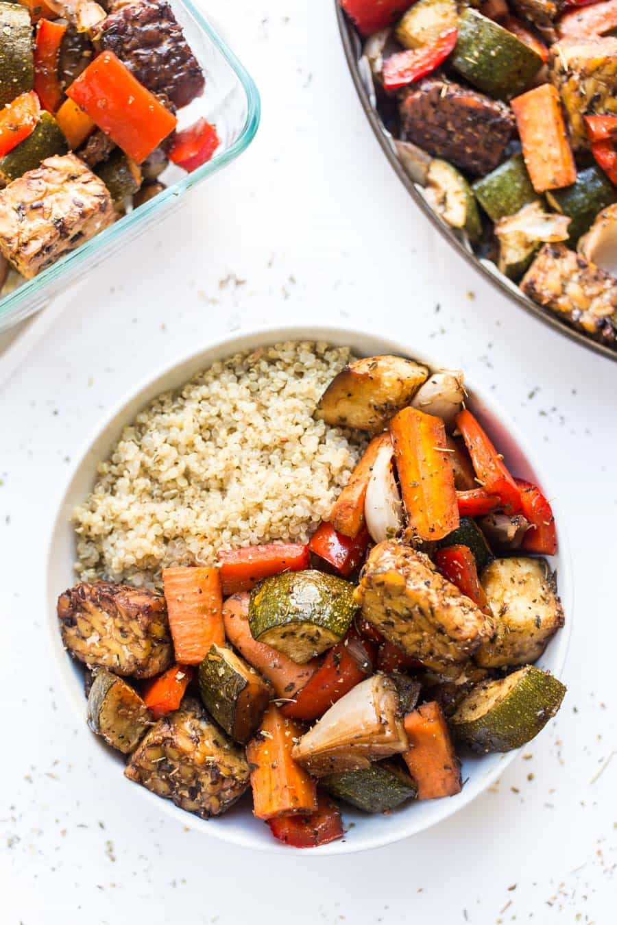 Balsamic Tempeh & Roasted Vegetable Quinoa Bowls are perfect for are made on just ONE PAN and are perfect for MEAL PREP!