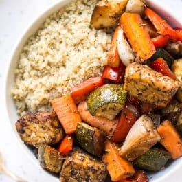 sheet pan balsamic vegetable quinoa bowl recipe for meal prep