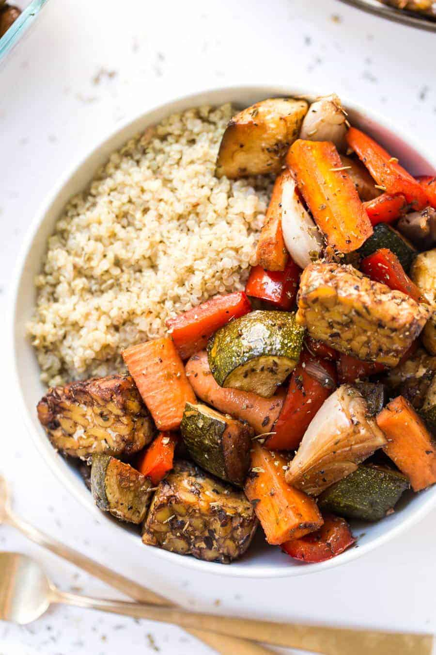 These SHEET PAN Balsamic Tempeh & Roasted Vegetable Quinoa Bowls are so easy to make and perfect for meal prep!