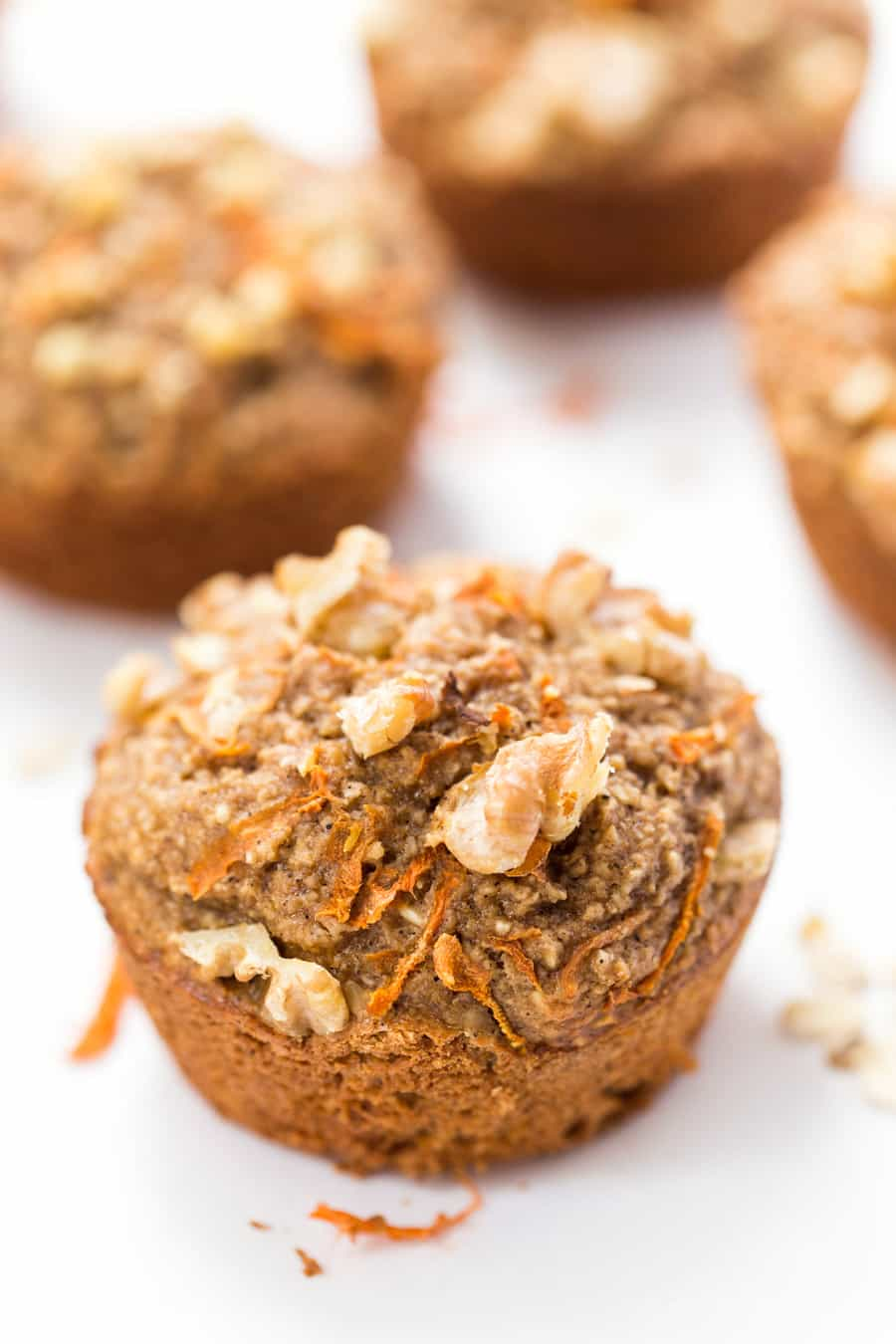 These HEALTHY Carrot Cake Blender Muffins are a great way to sneak in some extra fruit to your breakfast! [naturally GF too]