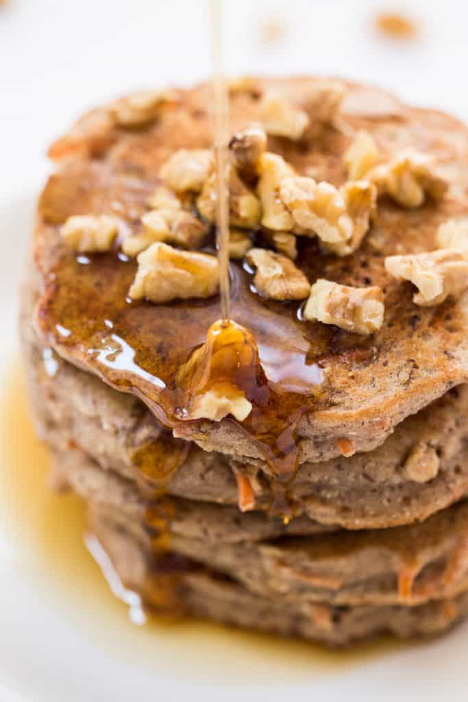 Healthy Carrot Cake Pancakes with maple syrup